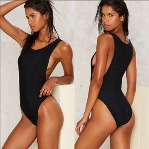 Nasty Gal Crew Intentions Ribbed Swimsuit/Bodysuit